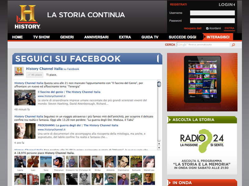 History Channel – Commenti e community su Facebook